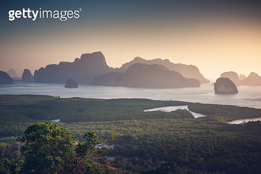 Nature Landscape Scenery of Tropical Seascape Thailand at Morning Sunrise, Aerial View of Sea Archipelago Paradise Island in Southeast Asia, Thailand Destination of Travel Tourist. Natural Background