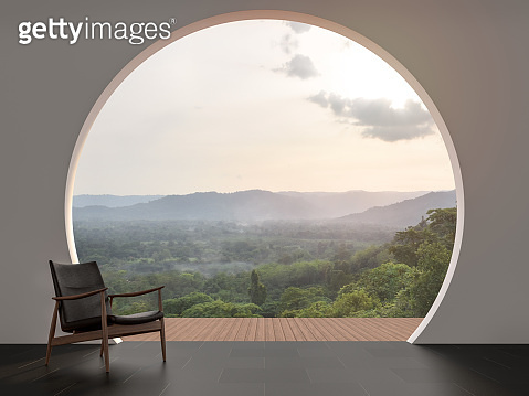 A wall with arch shape gap looking out over the mountains 3d render