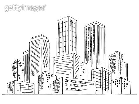 City graphic black white cityscape skyline sketch illustration vector