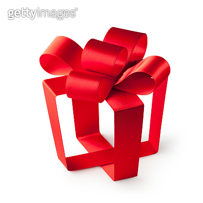 Red ribbon in the shape of a gift box. Concept photo.