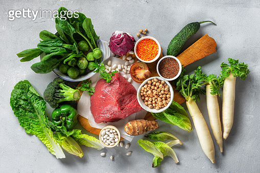 Healthy eating and balanced nutrition ingredients: vegetables, grain and meat. Nutrition, diet, clean food concept top view