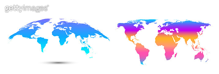Trendy colored abstract world map on white.