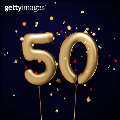 50 sign golden balloons with threads on black background.
