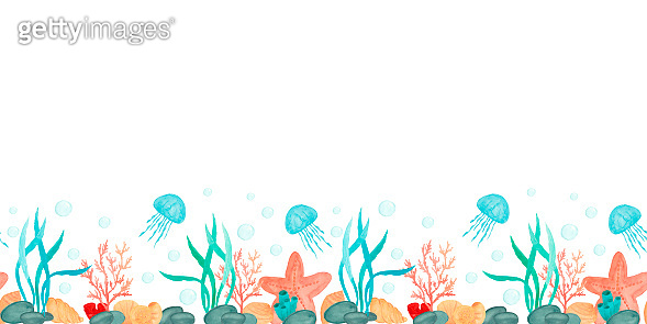 Watercolor sea horizontal seamless pattern. Seashells, starfish, jellyfish, seaweed, coral. White background. Hand drawn. Perfect for wallpapers, web page backgrounds, surface textures, fabric, paper.