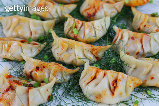 Full frame, image of steamed Momos (South Asian dumplings), white flour and water dough filled with chicken, mixed vegetables, drizzled with chilli oil, bed of fennel and garnished with chopped spring onion and coriander leaves, elevated view