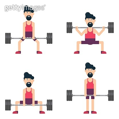 Man character training at the gym vector illustration