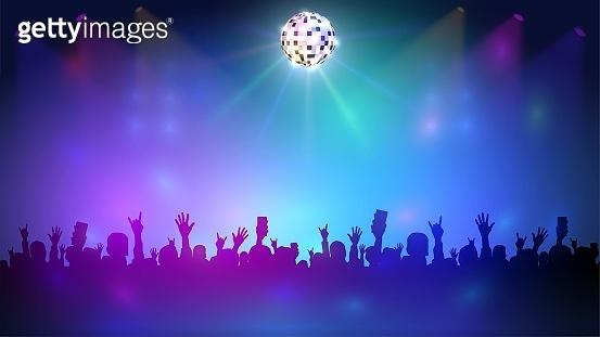 Disco club with a crowd