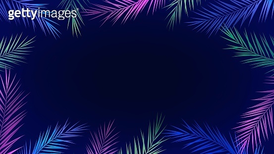 Background with frame of palm branches