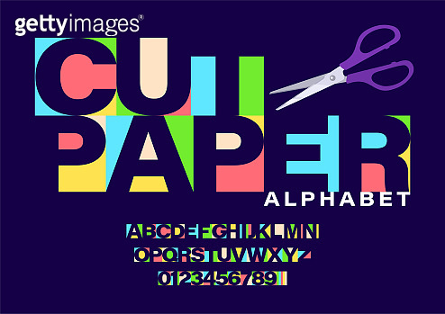 Set of colorful paper cut letters and numbers. Letters cut out of paper with scissors. Craft font and alphabet set
