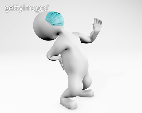 Man with mask in back pain 3d rendering