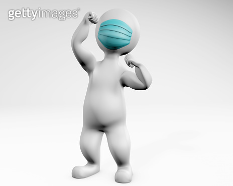 Man with mask fighting pose 3d rendering