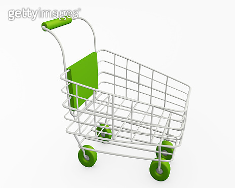 Shopping Cart green elements isolated 3d rendering