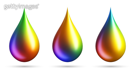 Colorful gradient drops on white background