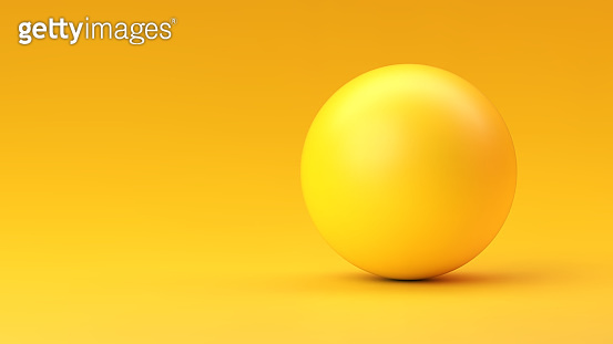 Yellow sphere with shadow on yellow gradient background