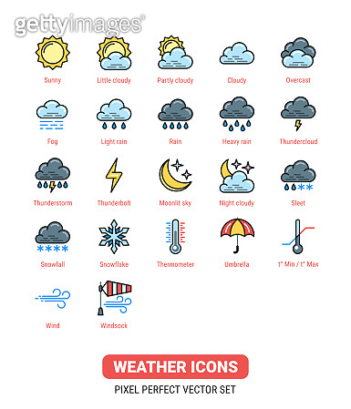 Weather icons kit. Icon set for application, widget or web site for weather forecasting. Color version of the icons on white background.