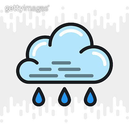 Light or small rain or drizzle icon for weather forecast application or widget. Cloud with raindrops. Color version on light gray background