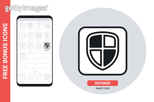 Phone protect, defender or antivirus application icon for smartphone, tablet, laptop or other smart device with mobile interface. Simple black and white version. Contains free bonus icons