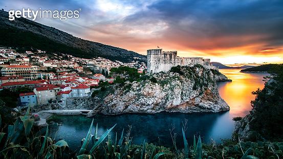 Dubrovnik Old town walls Lovrijenac fortress sunrise Croatia