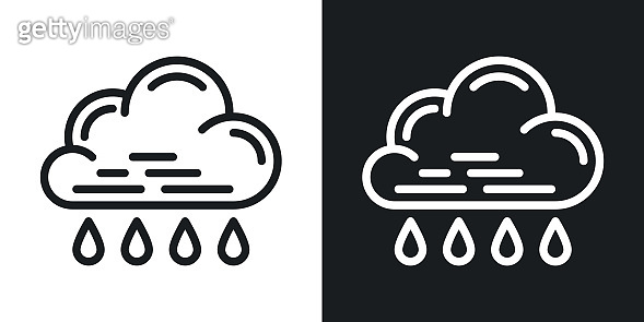 Rain icon for weather forecast application or widget. Cloud with raindrops. Two-tone version on black and white background