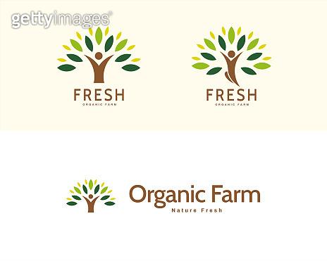 Organic production logo set