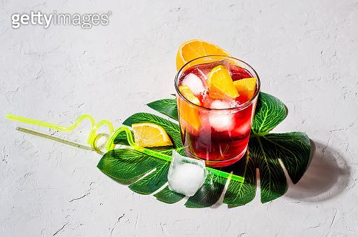 Summer cocktail Sangria with Orange