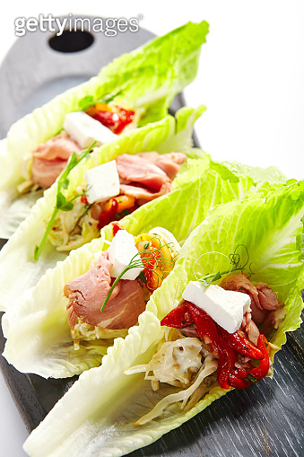 Romano lettuce with roast beef and celery remoulade