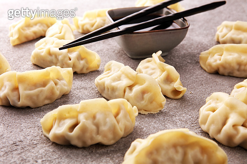 Gyoza or dumplings snack with soy sauce.