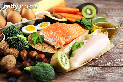 healthy eating and diet concept, natural rich in protein food on rustic table