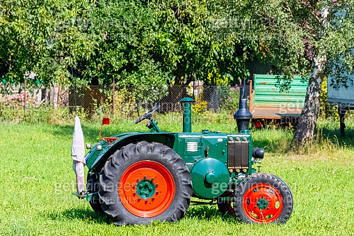 Vintage German tractor Lanz Bulldog in Choczewo, Pomerania, Poland