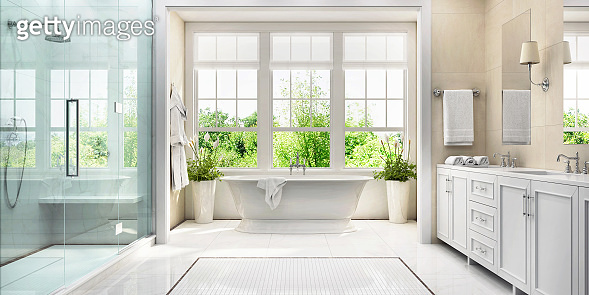 White bathroom with bath and large window