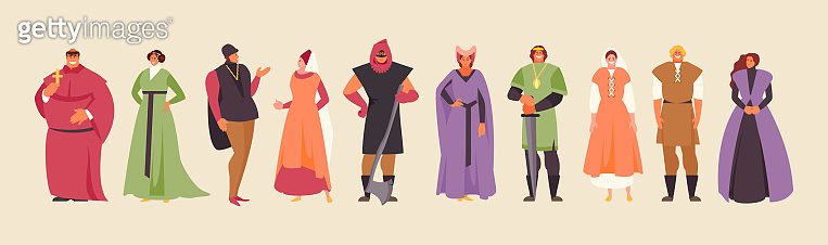 Collection of medieval people vector