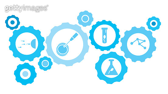 Connected gears and vector icons for logistic, service, shipping, distribution, transport, market, communicate concepts. Cell, artificial insemination gear blue icon set