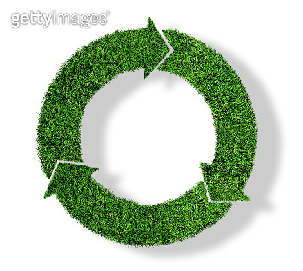 green grass recycling symbol, sustainability concept isolated on white