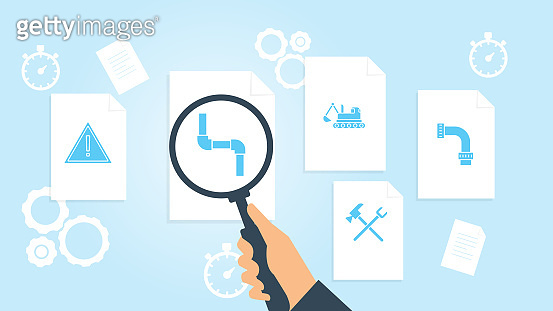 Document with search icons. File and magnifying glass. Analytics research sign. Vector Illustration, building, construction, industry, pipe file, document research vector illustration
