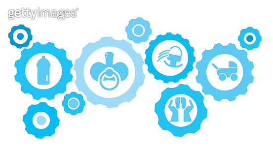 Connected gears and vector icons for logistic, service, shipping, distribution, transport, market, communicate concepts. Baby, stroller gear blue icon set