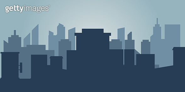 Set of cityscape background. Skyline silhouettes. Modern architecture. Horizontal banner with megapolis panorama. Building icon. Vector illustration. City silhouettes, building vector illustration.