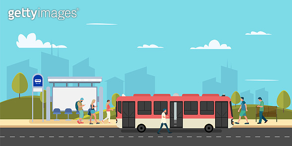 Bus stop of main street city with people walk to red bus.Urban concept.Public park with bench and bus stop.Vector illustration.Town scape with person in bus stop