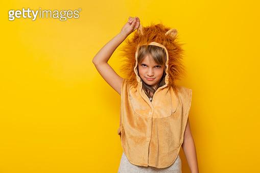 Little girl wearing lion carnival costume