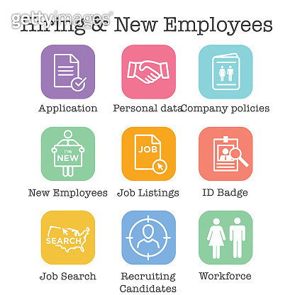 Hiring and Employees icons - job related images showing hiring