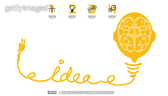 Sketch - brain light bulb - Creativity modern Idea and Concept illustration- infographic template.