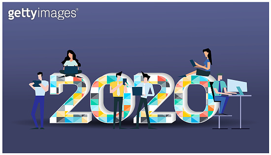 Young people Communicate social media Business/Finance - 2020 logo text Colorful Geometry vector illustration.