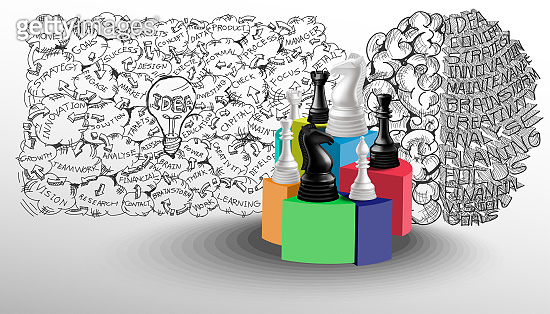 Chess game concept black and white with background Sketch brain And light bulbs, idea ,Business plan data text various - creativity modern idea and concept illustration.