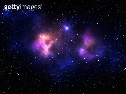 3D solar system background with colourful nebula