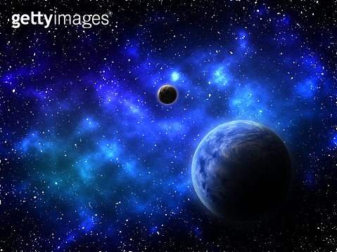 3D space background with abstract planets and nebula