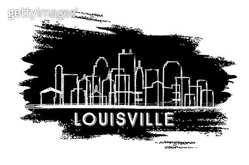 Louisville Kentucky USA City Skyline Silhouette. Hand Drawn Sketch.