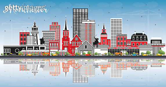 Manchester New Hampshire City Skyline with Gray Buildings, Blue Sky and Reflections.
