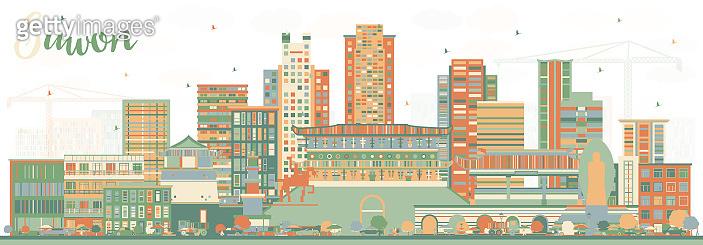 Suwon South Korea City Skyline with Color Buildings.