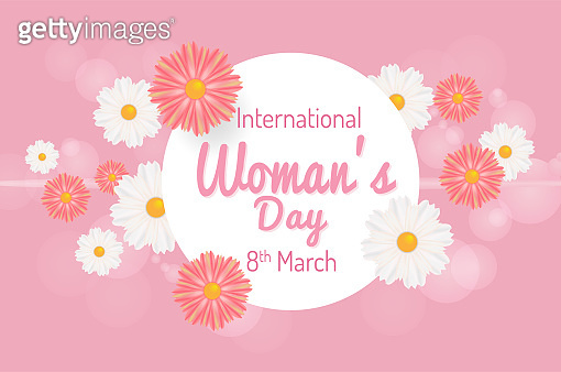 International Women's Day. March 8th greeting card. Vector illustration background