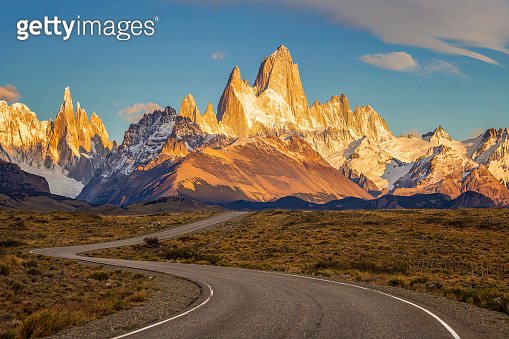 Road to El Chalten with Fitz Roy at sunrise, Argentina