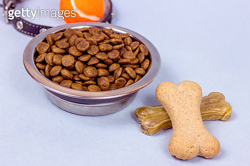 Brown biscuit bones and crunchy organic kibble pieces for dog feed on light blue background. Healthy dry pet food concept